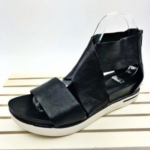 Eileen Fisher Black Tumbled Leather Sport Sandals